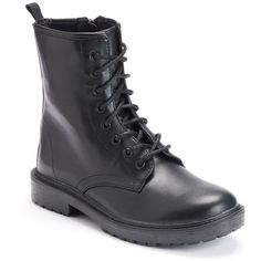 Mudd® Women's Combat Boots (£27) ❤ liked on Polyvore featuring shoes, boots, black lace up boots, laced up boots, military combat boots, black military boots and black combat boots