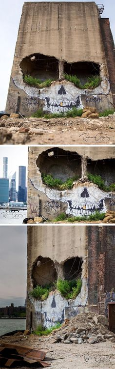 A Crumbling Building in Greenpoint Now Features a Ghoulish Skull by Suitswon #streetart