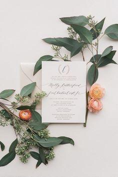 Rustic elegance wedding invitation | Orange Photographie via Oh So Beautiful Paper | See more: http://theweddingplaybook.com/rustic-peach-gold-green-wedding-inspiration/