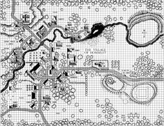 The village of Hommlet, on the outskirts of the Temple of Elemental Evil. (From the AD&D module T1-4.)