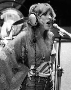 In the recording studio for Fleetwood Mac's self-titled first album, 1975   - HarpersBAZAAR.com