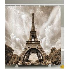 Uphome 72 X 72 Inch Retro Vintage Paris Eiffel Tower Waterproof Kids  Bathroom Shower Curtain