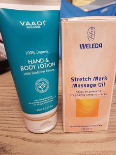 Jeg har under graviditeten min brukt to forskjellige produkter mot strekkmerker, Weleda Stretch Mark Massage Oil og Vaadi Hand & Body Lotion.
