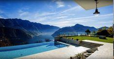 Villa di lusso con piscina infinity pool sul lago di Lugano Lugano, Real Estate, Mansions, House Styles, Outdoor Decor, Home Decor, Swiming Pool, Decoration Home, Manor Houses