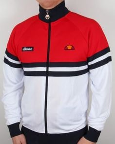 Ellesse Rimini 3 Track Top White, Red and Navy. We stock more Ellesse Rimini Track Tops in other colours and styles at Casual Classics. Tracksuit Jacket, Tracksuit Tops, Best Mens T Shirts, Mens Outdoor Jackets, Mens Jogger Pants, Ellesse, Mode Vintage, Sports Shirts, Mens Sweatshirts