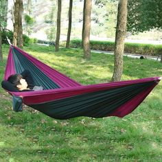 Enjoydeal Portable Parachute Nylon Fabric Travel Camping Hammock For Double Two Person (Army Green&Purple)   shopswell