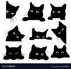 Set of black cats looking out of the corner. Collection of cat faces that spy on… Set of black cats looking out of the corner. Collection of cat faces that spy on you. Black Cat Drawing, Black Cat Art, Black Cat Painting, Cute Cat Drawing, Black Kitty, Cute Black Cats, Eye Painting, Painting Abstract, Black Cat Silhouette