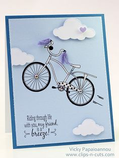 Bicycle card by Vicky (Dig those handlebar streamers!)