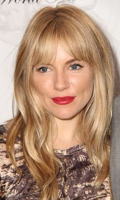 Honey blonde. Love the overgrown fringe 60s vibe of Sienna Miller on this one