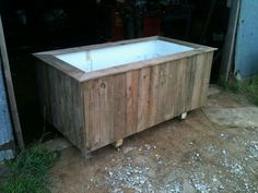 Chest Freezer Turned Raised Bed Hubby Drilled Holes In