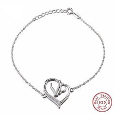Genuine 925 Sterling Silver Adjustable Chain Charm Bracelet