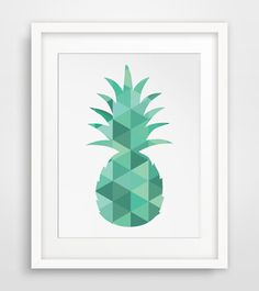 Pineapple Print Turquoise Green Blue Art by MelindaWoodDesigns #pineappleart #kitchendecor