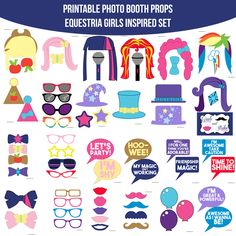 Instant Download Equestria Girls Inspired Printable Photo Booth Prop Set