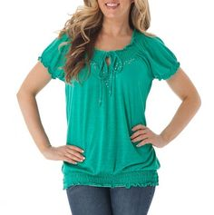Embellished Peasant Top with Smocked Waist
