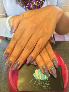 Acrylic Nails, nails art, purple Nails