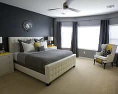 Dark grey walls, light grey ceiling with brown accents.