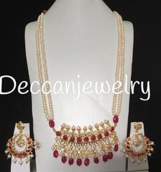 Made upon order long tirmani pendant set Made using natural pearls and ruby and ruby beads gold plated Delivered in weeks Pearl Set, Pearl Chain, Hyderabadi Jewelry, Kundan Set, Hand Wrist, Gold Choker Necklace, Earrings, Ruby Beads, Natural Ruby