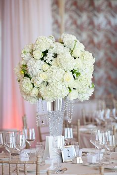 tall floral center piece, hydrangea and rose centerpiece, white centerpiece, wedding centerpiece,  wedding, www.christinalogandesign.com
