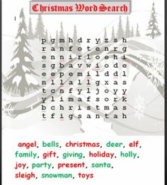 Basic Christmas word search printable for your students during the holidays......