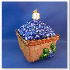 Blueberries Old World Christmas Ornament Glass Blown Fruit Basket Food