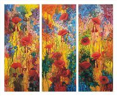 Catawiki online auction house: Krzysztof Lozowski - Triptych Poppies Ladies