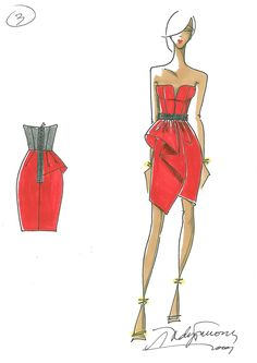 The Heart Truth Fashion Show Red Dress sketch by designer Andy Thê-Anh, 2010.