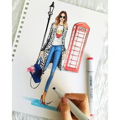 Fashion Illustration Inspired by London fashion week 2016 by Houston fashion Illustrator Rongrong DeVoe #fashionillustration #fashionillustrator #rongrongdevoe #copic