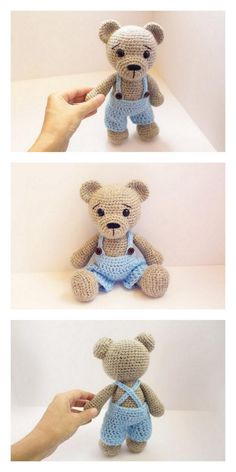 Educational and interesting ideas about amigurumi, crochet tutorials are here. Teddy Bear Patterns Free, Teddy Bear Knitting Pattern, Crochet Amigurumi Free Patterns, Crochet Animal Patterns, Crochet Doll Pattern, Stuffed Animal Patterns, Crochet Dolls, Crochet Projects, Amigurumi Doll