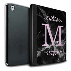 Personalized Black Marble Fashion PU Leather Case for Apple iPad Pro 9.7 / Framed Pink Single Design / Initial/Name/Text DIY Tablet Book Cover|DIY projects Tablet Cases