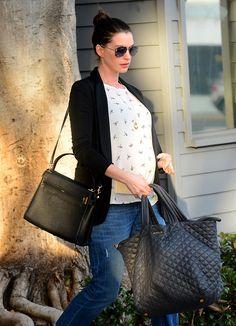 Anne Hathaway- Valentino My Rockstud bag & MZ Wallace Metro Tote
