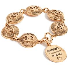 Pre-owned What Goes Around Comes Around Chanel CC Burst Coin Bracelet... ($1,770) ❤ liked on Polyvore featuring jewelry, bracelets, yellow gold, gold coin jewelry, gold bangles, yellow gold bangle, gold medallion and gold jewellery