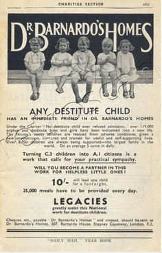 Barnardos charity advertisement. 1937.