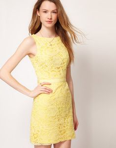 65788b9933 Slash Neck Lace Dress - John Zack - Yellow - Party dresses ...