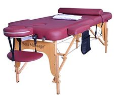 BestMassage Burgundy Premium All Inclusive Complete Portable Massage Table Package