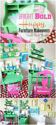 bright bold happy furniture makeover by Fresh Idea Studio Your place for DIY {collage of after photos using AS Antibes green}