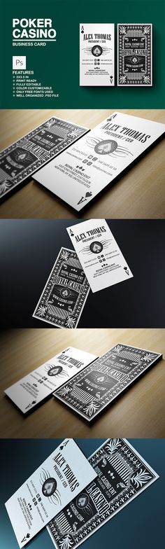 Poker - Casino Business Card:   This elegant and clean business card template is suitable for any kind of business or personal use. The card is fully customizable and come in a well organized .PSD file (PHOTOSHOP). All texts are editable and colors can be easily change to whatever you may want. You can use the sample logo included or replace it with yours. DOWNLOAD: https://creativemarket.com/Marvels/702163-Poker-Casino-Business-Card?u=Marvels