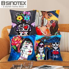 Find More Cushion Cover Information about 43*43cm New Print Style Color Skulls Cushions Linen Cushion Cover Family Badges Throw Pillow For Living Room Bed Room 1 Pcs,High Quality cushion beds,China cushion classic Suppliers, Cheap pillow squishy from The Home Shop on Aliexpress.com