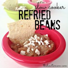 Refried Beans (Slow Cooker) - these are SO yummy and SO easy! Put everything in the crockpot and let them sit all day. Then freeze in baggies for single servings.