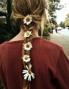 hair styles for long hair, but maybe with only one or two flowers