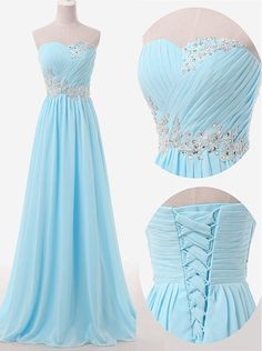 Buy Simple A-line Sweetheart Floor Length Sky Blue Bridesmaid Dress with Beading Long Bridesmaid Dresses under US$ 100.99 only in SimpleDress.