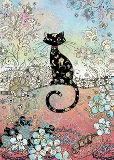 bug art E038 Patterned Cat greeting cards