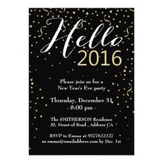 modern confetti gold hello 2016 new year eve party invitation