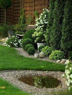 60 Beautiful Front Yards And Backyard Evergreen Garden Design Ideas - artmyideas Small Front Yard Landscaping, Backyard Landscaping, Landscaping Ideas, Backyard Ideas, Back Gardens, Outdoor Gardens, Landscape Design, Garden Design, Landscape Architecture