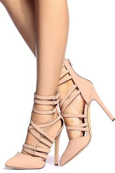 Women's Fashion High Heels :    Nude Faux Nubuck Multi Strap Pointed Toe Heels @ Cicihot Heel Shoes online store sales:Stiletto Heel Shoes,High Heel Pumps,Womens High Heel Shoes,Prom Shoes,Summer Shoes,Spring Shoes,Spool Heel,Womens Dress Shoes  - #HighHeels https://youfashion.net/shoes/high-heels/trendy-womens-high-heels-nude-faux-nubuck-multi-strap-pointed-toe-heels-cicihot-heel-shoes-online-store/