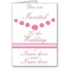 Pink Roses and Stripes Wedding invitations custom