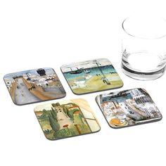 Reuven Rubin Tel Aviv Coasters - Set of 4 Coasters - ofek wertman jewish gifts & Israeli Gifts Jewish Gifts, Tel Aviv, Coaster Set, How To Make, Handmade, Souvenir, Hand Made, Arm Work