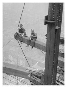 Workers Sitting on Steel Beam, 1926 Art Print