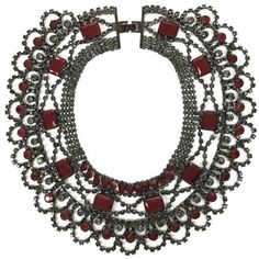 BCBG red and black statement necklace