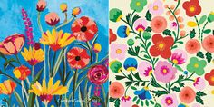 ADORE the bold florals on the right. Color pattern, thickness of stroke