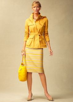 Talbots - I love the pairing of a tied jacket and pencil skirt; great to replicate in a different color (yellow is not a good color for me).
